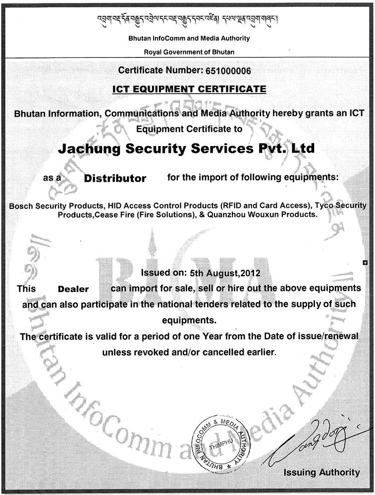 ICT Dealer Certificate from BICMA