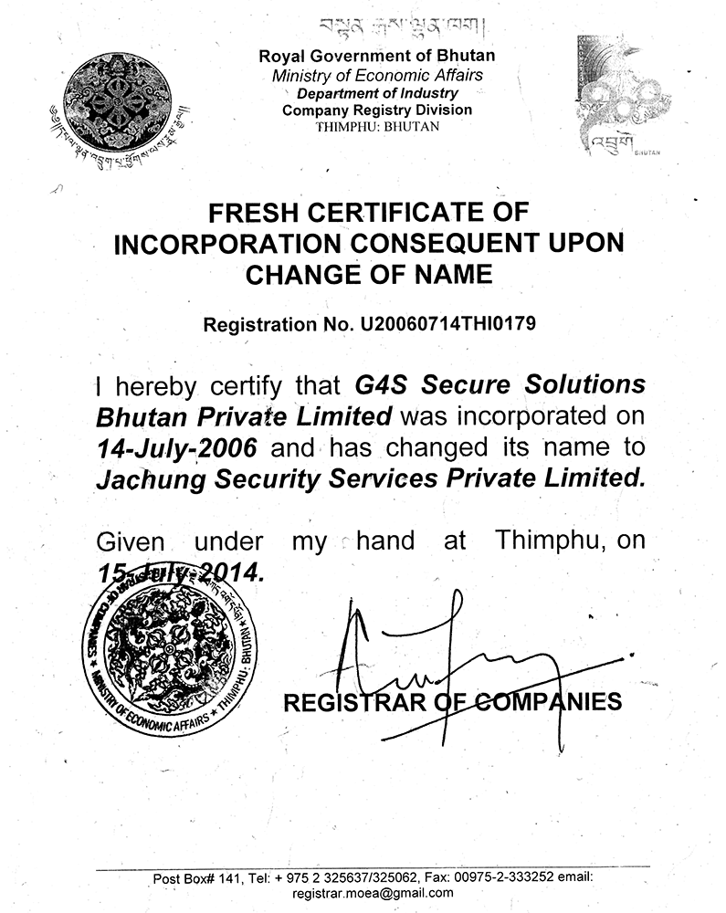 Fresh Certificate of Incorporation