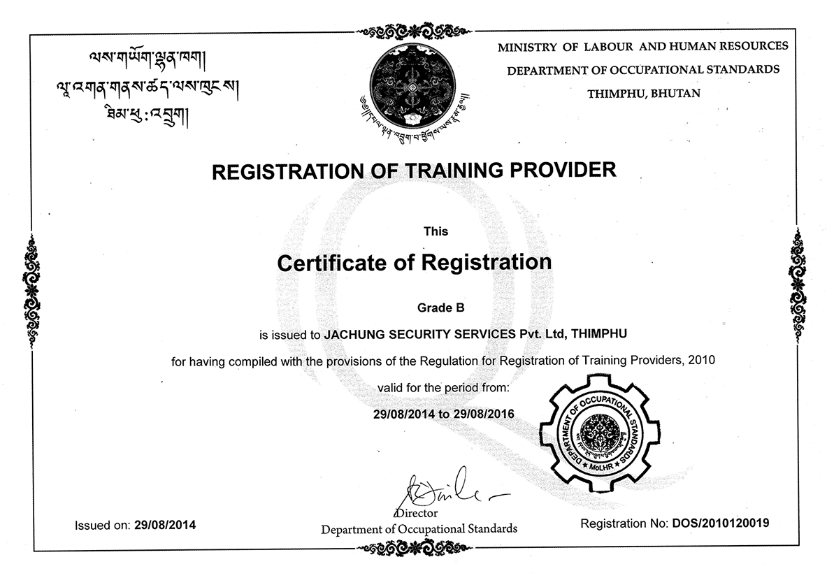 """Certificate of Registration (Registration of Training Provider """"Grade B"""")"""
